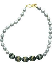 Farra - Grey Freshwater Pearls & Rhinestones Short Necklace - Lyst