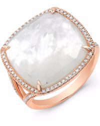 Anne Sisteron - Rose Gold Mother Of Pearl Diamond Doublet Ring - Lyst