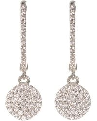 Talia Naomi - Golden Eclipse Pavé Earrings White Gold - Lyst