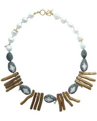 Farra - Rhinestones Bordered Pearls With Golden Coral Branch Statement Necklace - Lyst