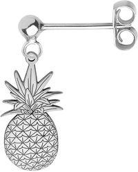 CarterGore - Silver Pineapple Single Short Drop Earring - Lyst