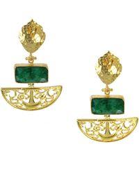 Ottoman Hands - Artemis Emerald Drop Earrings - Lyst