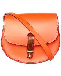 N'damus London - Mini Victoria Orange Leather Crossbody Saddle Bag - Lyst