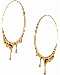 MARIE JUNE Jewelry - Dripping Oval Gold Hoops - Lyst