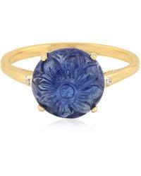 Artisan 18k Gold Ring With Carved Tanzanite & Diamonds