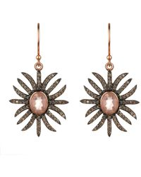 LÁTELITA London - Diamond Sunburst Earring Rose Quartz - Lyst