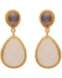 Carousel Jewels - Intricate Labradorite & Moonstone Double Drop Earrings - Lyst
