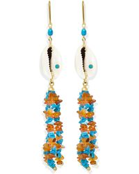 Vintouch Italy Turquoise & Cowrie Shell Statement Earrings
