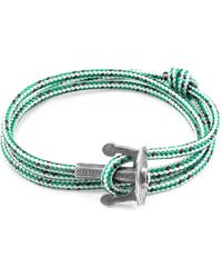Anchor & Crew - Green Dash Union Anchor Silver & Rope Bracelet - Lyst