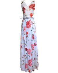 LEFON New York - Floral Print V Neck Maxi Dress And Belt - Lyst