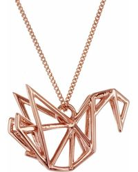 Origami Jewellery | Frame Swan Necklace Rose Gold | Lyst