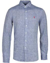 Polo Ralph Lauren - Slim Fit Navy Linen Shirt - Lyst