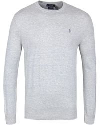 Polo Ralph Lauren - Grey Slim Fit Knitted Pima Cotton Crew Neck Sweater - Lyst