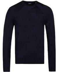 Armani Jeans - Blue Notte Woven Eagle Crew Neck Sweater - Lyst
