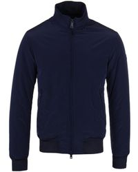Armani Jeans - Navy Padded Concealed Hooded Blouson Jacket - Lyst