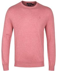 Polo Ralph Lauren - Salmon Red Slim Fit Knitted Pima Cotton Crew Neck Jumper - Lyst