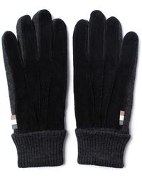 Aquascutum - Vector Black Suede Knitted Gloves - Lyst
