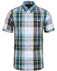 Fred Perry - Bright Madras Checked Short Sleeve Shirt - Lyst