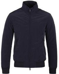 Emporio Armani - Dark Blue Padded Harrington Jacket - Lyst