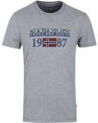 Napapijri - Solin Mid Grey Marl Napa Logo T-shirt - Lyst