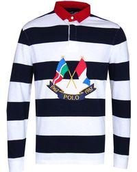 45594515b ... purchase polo ralph lauren navy white cross flags rugby shirt lyst  4d655 b8c5f