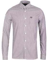 Fred Perry - Stripe Twill Mahogany Shirt - Lyst