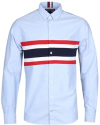 Tommy Hilfiger - Ribbed Chest Blue Oxford Shirt - Lyst