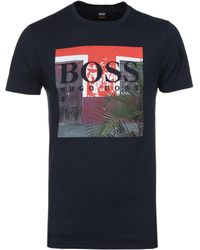 BOSS Orange - Boss Tux 1 Navy Printed Crew Neck T-shirt - Lyst