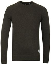 Barbour - Lambswool Crew Neck Forest Green Jumper - Lyst