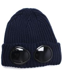 C P Company - Navy Knitted Goggle Beanie Hat - Lyst