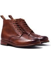 Grenson - Sharp Tan Brogue Boot - Lyst