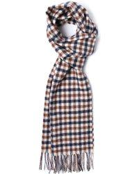 Aquascutum - Vicuna Check Woollen Knit Scarf - Lyst