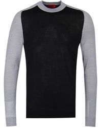 BOSS - Hugo Seitor Black & Grey Wool Jumper - Lyst