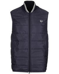 Fred Perry - Lavenham Navy Quilted Gilet - Lyst