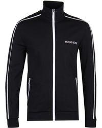 2622faee1 BOSS by Hugo Boss Zip Through Sweat Jacket Black in Black for Men - Lyst
