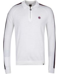 Pretty Green Long Sleeve Stone Zip Neck Knitted Polo Shirt - White