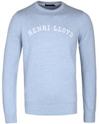 Henri Lloyd - Gell Regular Powder Blue Crew Neck Knitted Jumper - Lyst