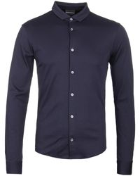 Emporio Armani - Navy Mercerised Cotton Shirt - Lyst