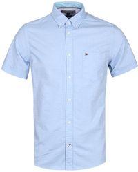 Tommy Hilfiger - Slim Fit Blue Heather Short Sleeve Oxford Shirt - Lyst