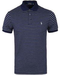 Polo Ralph Lauren - Pima Cotton French Navy / Andover Grey Striped Polo Shirt - Lyst