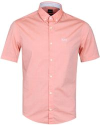 BOSS Green - Biadia Pastel Salmon Marl Short Sleeve Shirt - Lyst