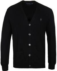 Polo Ralph Lauren - Black V-neck Cardigan - Lyst