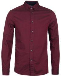 Calvin Klein - Burgundy Washed Oxford Shirt - Lyst