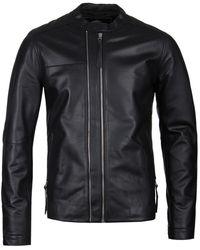 Pretty Green Black Leather Zip Up Biker Jacket