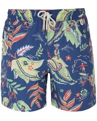Polo Ralph Lauren - Floral Pattern Blue Traveler Swim Shorts - Lyst