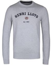 Henri Lloyd - Gell Club Regular Gym Grey Crew Neck Knitted Jumper - Lyst