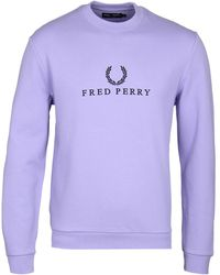 Fred Perry - Embroidered 1991 Lilac Sweatshirt - Lyst