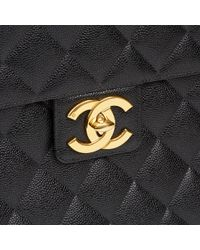 b5e4e7f4cd Chanel - Black Quilted Caviar Leather Vintage Jumbo Xl Classic Briefcase -  Lyst