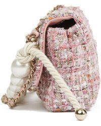 b8c0add50669 Chanel - Pink Tweed Fabric & Pearls Classic Single Flap Bag - Lyst