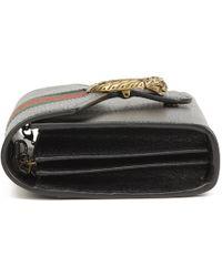 b18c3711f9ff Gucci - Black Calfskin Leather Web Mini Dionysus Wallet On Chain - Lyst
